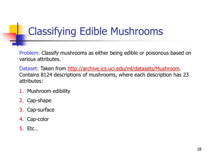 Classifying Edible Mushrooms