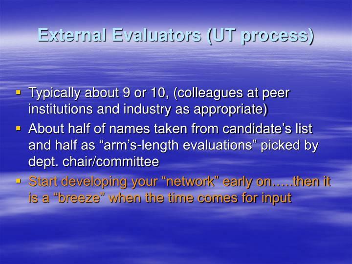 External Evaluators (UT process)