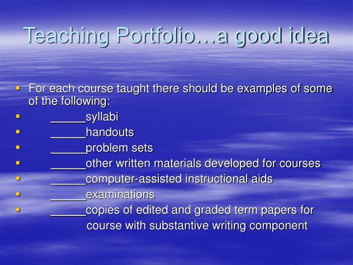 Teaching Portfolio…a good idea