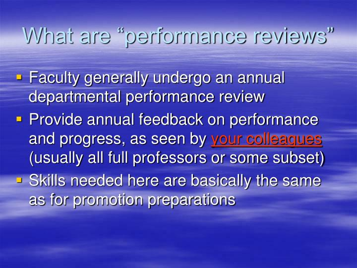 """What are """"performance reviews"""""""