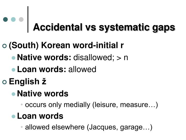 Accidental vs systematic gaps