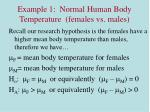 example 1 normal human body temperature females vs males1