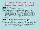 example 1 normal human body temperature females vs males7