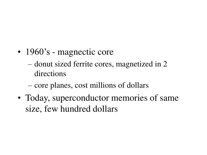 1960's - magnectic core