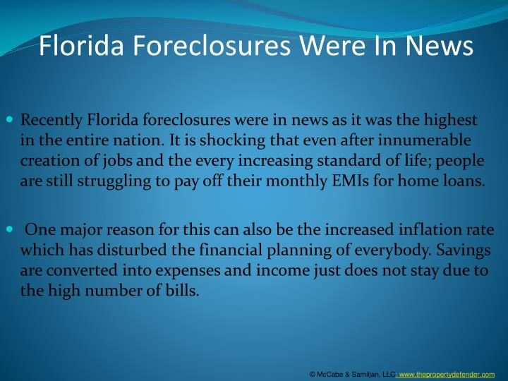 Florida foreclosures were in news
