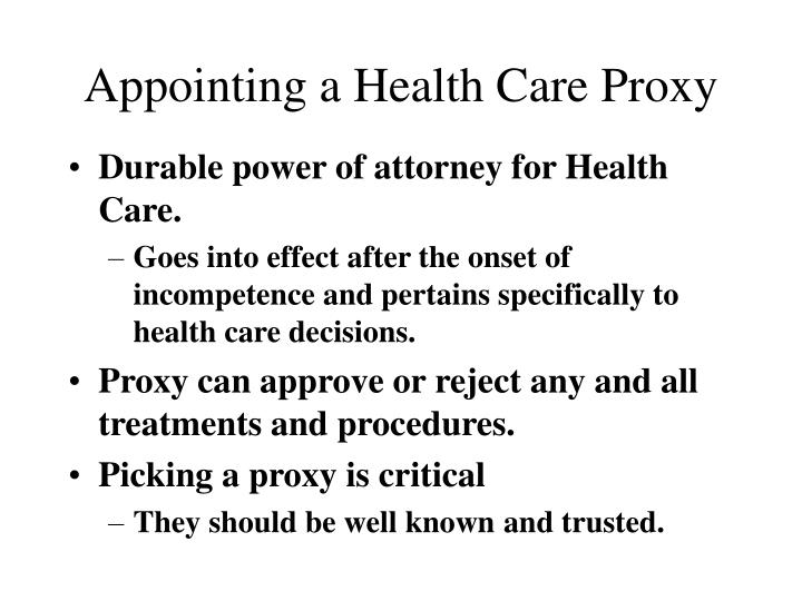 Appointing a Health Care Proxy