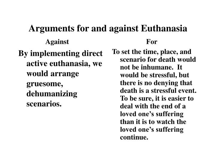 By implementing direct active euthanasia, we would arrange gruesome, dehumanizing scenarios.