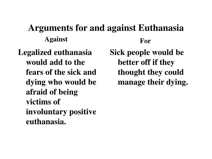 Legalized euthanasia would add to the fears of the sick and dying who would be afraid of being victims of involuntary positive euthanasia.