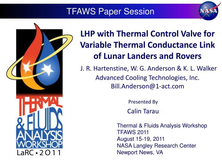LHP with Thermal Control Valve for Variable Thermal Conductance Link of Lunar Landers and Rovers