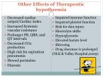 other effects of therapeutic hypothermia