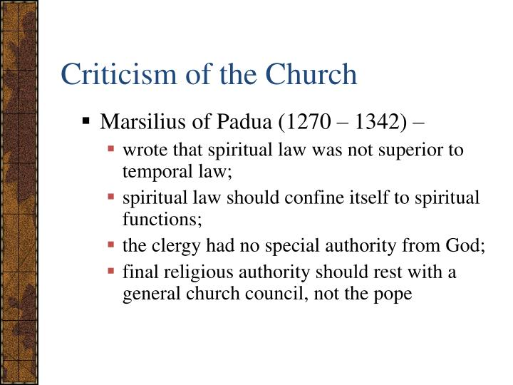 Criticism of the Church