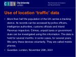 use of location traffic data