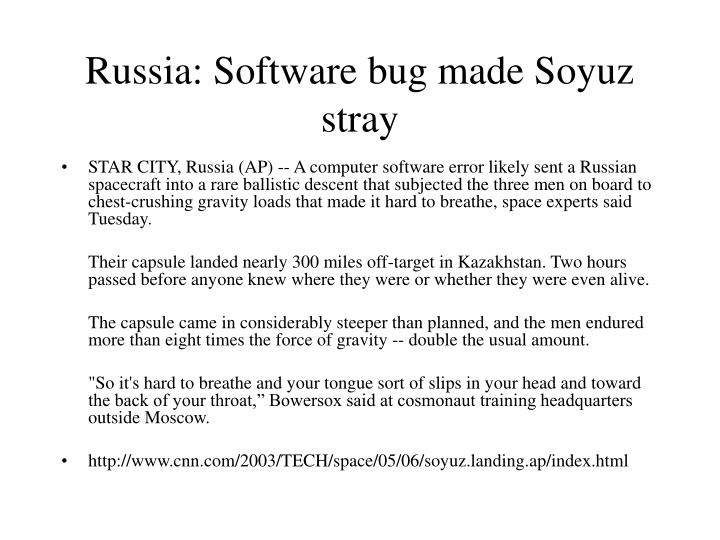 Russia: Software bug made Soyuz stray