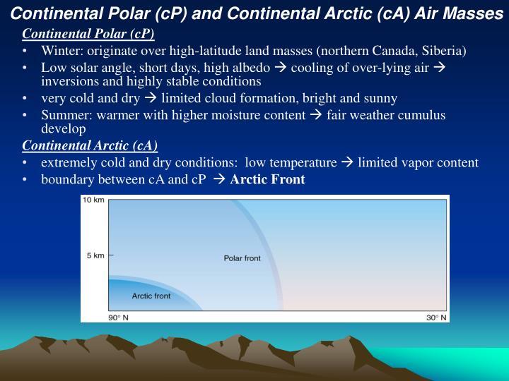 Continental Polar (cP) and Continental Arctic (cA) Air Masses