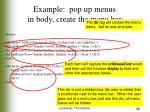 example pop up menus in body create the menu bar
