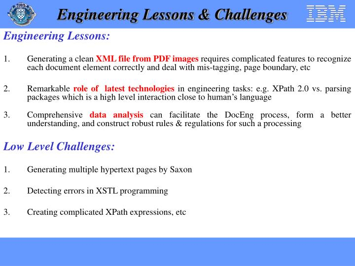 Engineering Lessons & Challenges