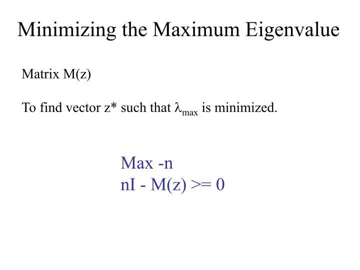 Minimizing the Maximum Eigenvalue