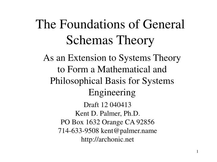 the foundations of general schemas theory n.