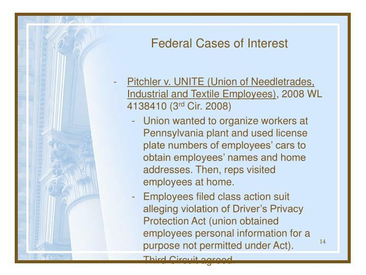 Federal Cases of Interest