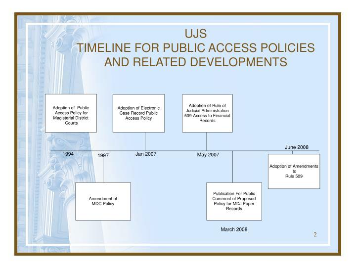 Ujs timeline for public access policies and related developments