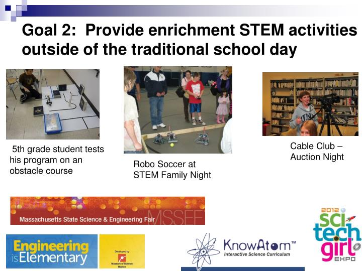 Goal 2:  Provide enrichment STEM activities outside of the traditional school day