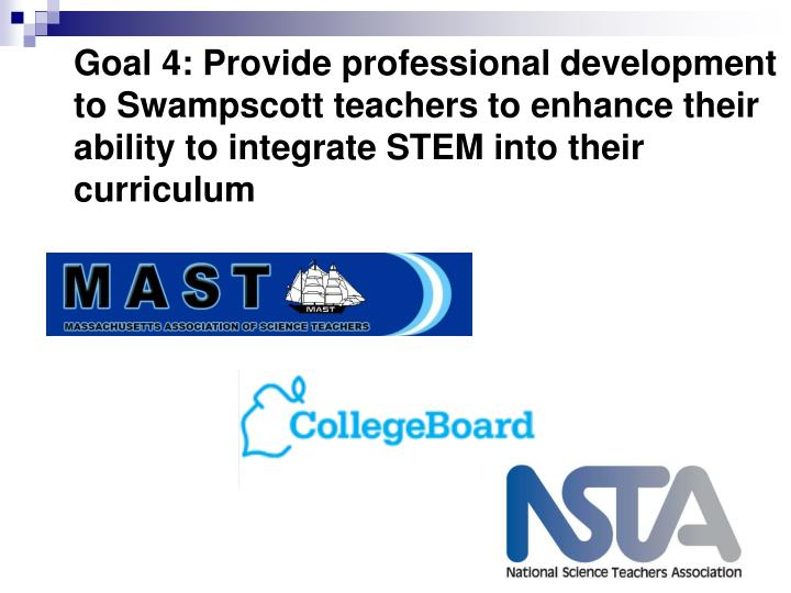 Goal 4: Provide professional development to Swampscott teachers to enhance their ability to integrate STEM into their curriculum