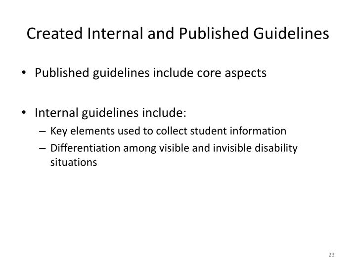 Created Internal and Published Guidelines