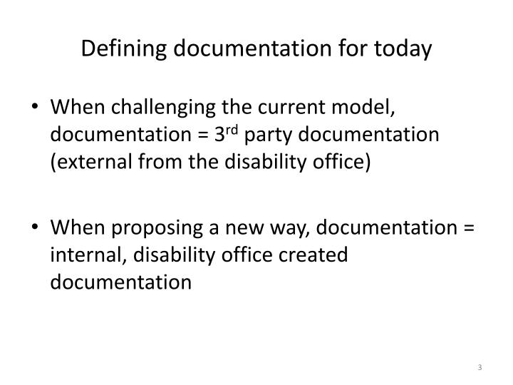 Defining documentation for today