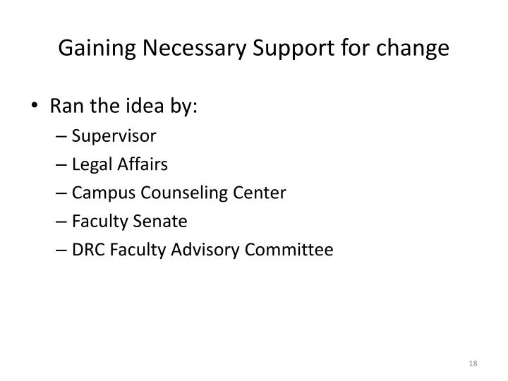 Gaining Necessary Support for change
