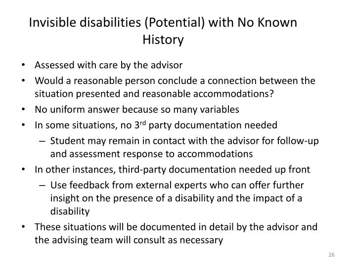 Invisible disabilities