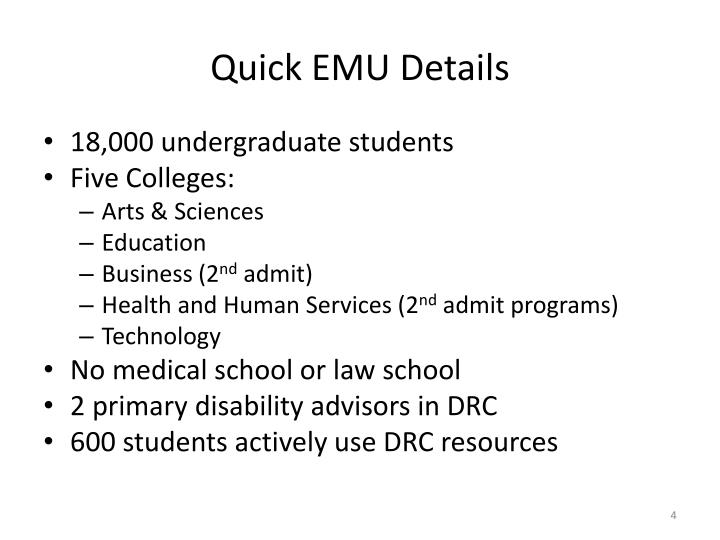 Quick EMU Details