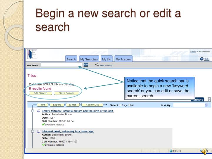 Begin a new search or edit a search