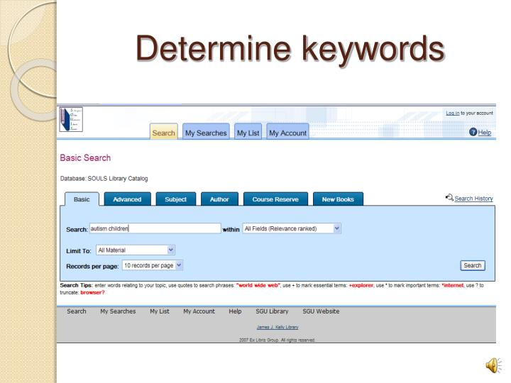 Determine keywords
