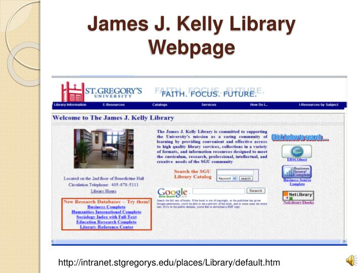 James j kelly library webpage