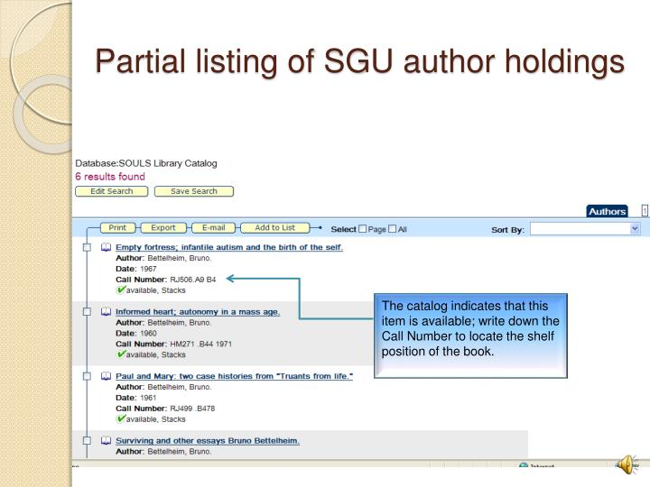Partial listing of SGU author holdings