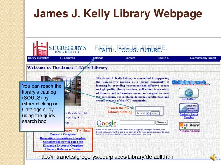 James J. Kelly Library Webpage