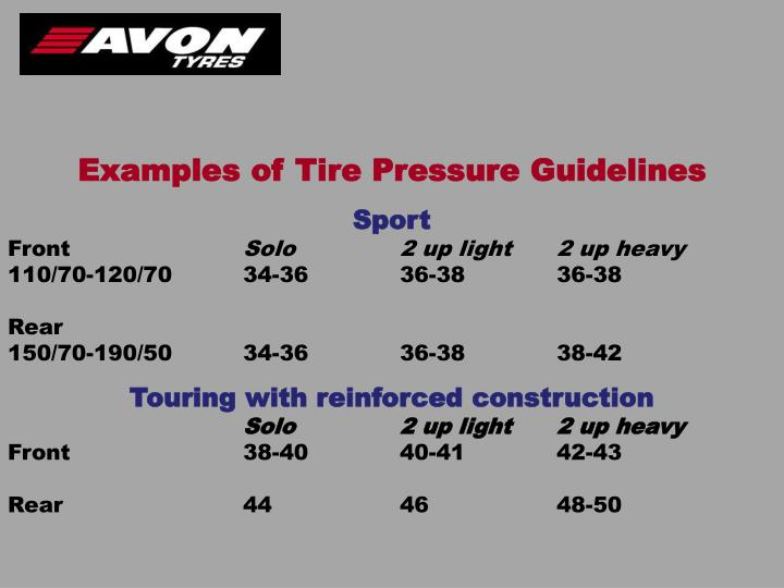 Examples of Tire Pressure Guidelines