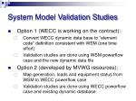 system model validation studies2