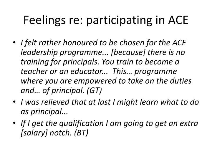 Feelings re: participating in ACE