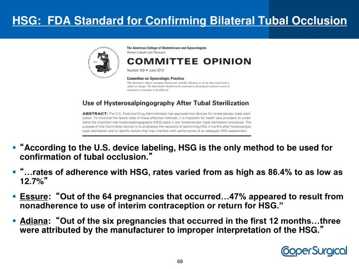 HSG:  FDA Standard for Confirming Bilateral Tubal Occlusion