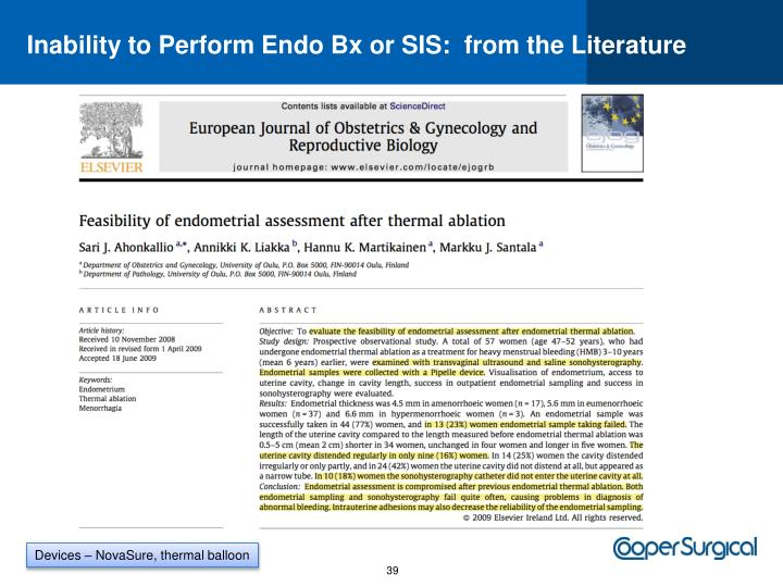 Inability to Perform Endo Bx or SIS:  from the Literature