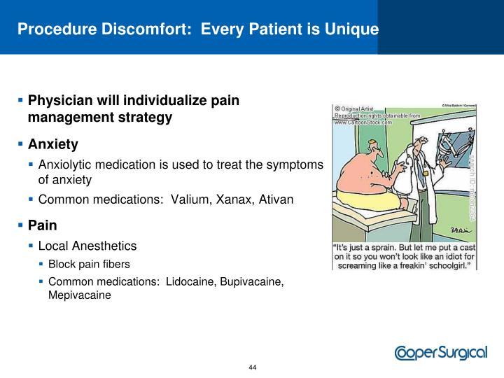 Procedure Discomfort:  Every Patient is Unique