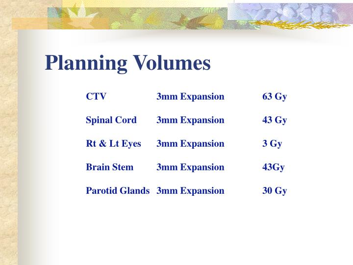 Planning Volumes