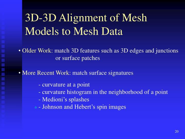 3D-3D Alignment of Mesh Models to Mesh Data