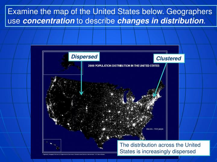 Examine the map of the United States below. Geographers use