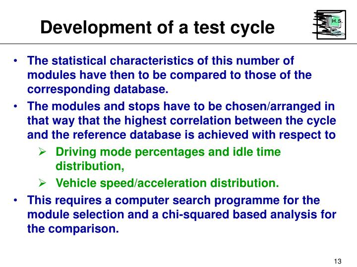 Development of a test cycle