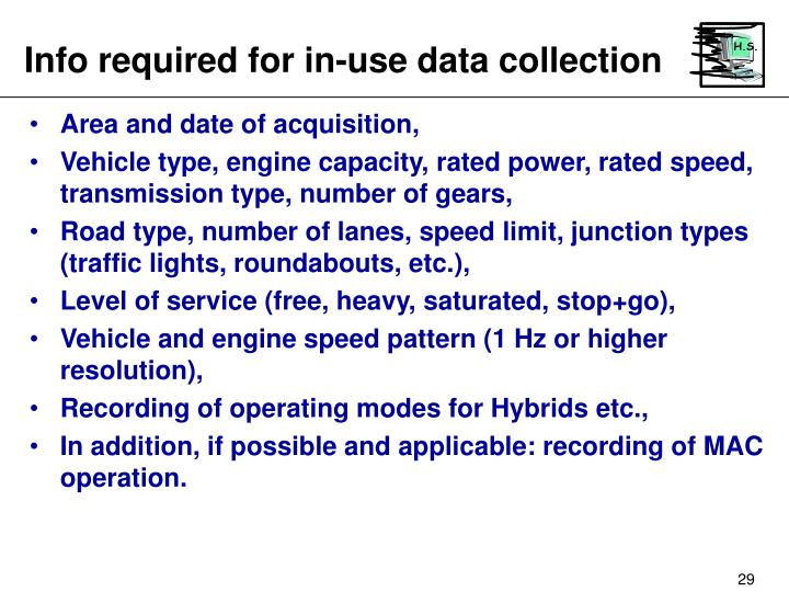 Info required for in-use data collection