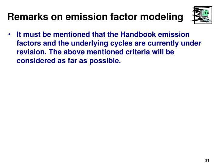 Remarks on emission factor modeling