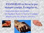 evangelio es llevar la paz siempre contigo evangelio es