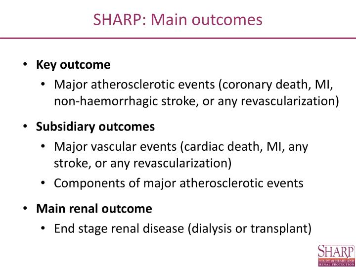 SHARP: Main outcomes